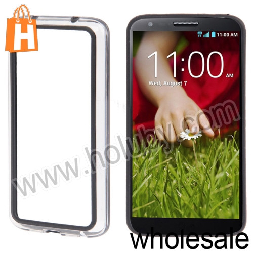 Frame Cover Transparent Plastic+TPU Bumper Case for LG Optimus G2 D801