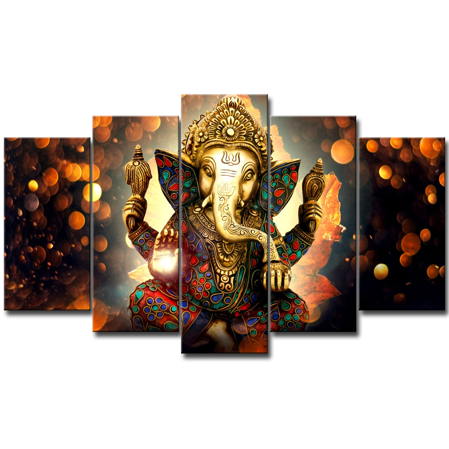 High Quality Wholesale Custom Made Ganesha The Indian Elephant Buddha 3D Canvas Painting Print For Home Decor