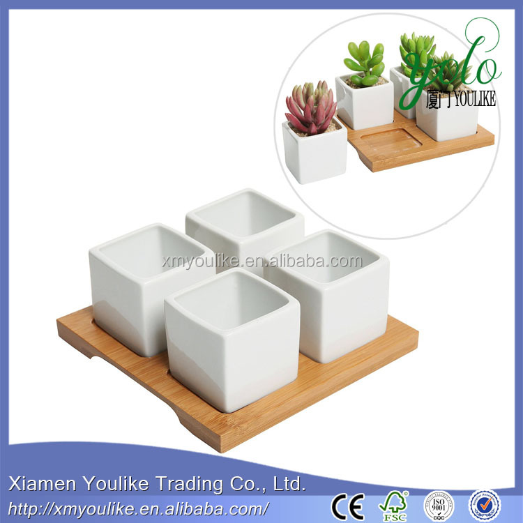 bamboo Wood Planter Box Flower Pot Tray