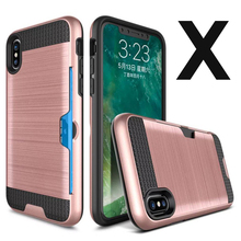 2 In 1 Hybrid Tpu pc Brushed 10 phone case With Card Slot For Iphone x case