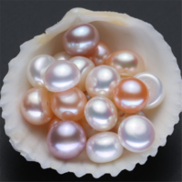 AAA grade natural genuine real white half drilled wholesale cultured fresh water freshwater button shape loose pearls no hole