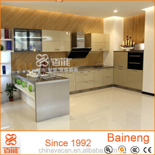 Quality product and good looking color combinations stainless steel and glass kitchen cabinet
