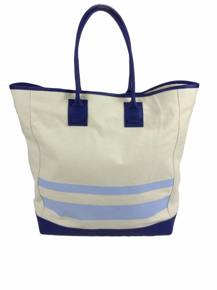 Canvas tote handbag in genuine leather trim with interior detachable pouch