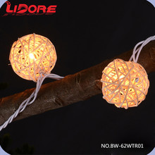 LIDORE Holiday Decorative Clear Mini LED Christmas Rattan Balls Light