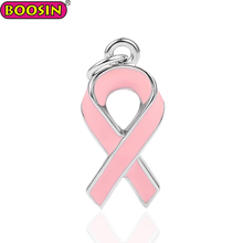 Metal alloy pink enamel cancer awareness ribbon charms wholesale