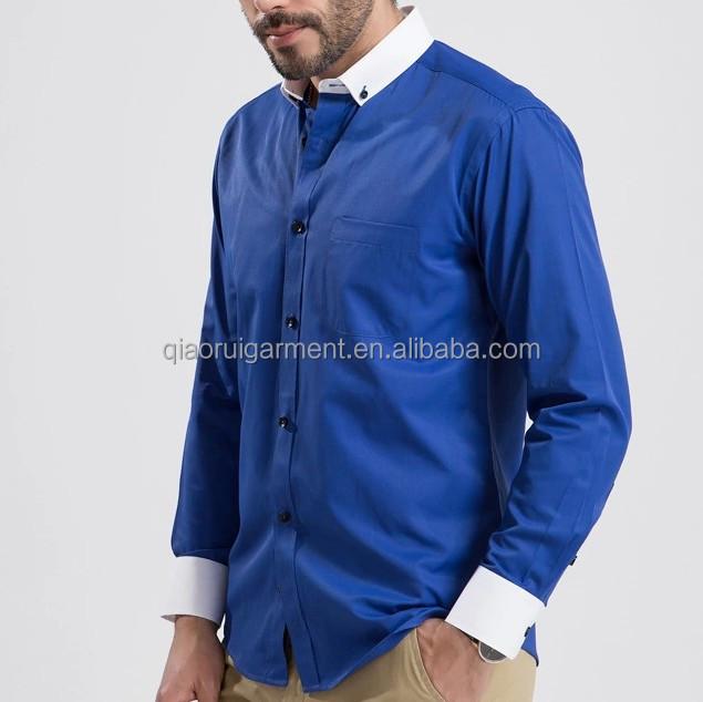 b qualit t herren elegant button down kragen 100 baumwollsatin hemd mit wei em kragen und. Black Bedroom Furniture Sets. Home Design Ideas