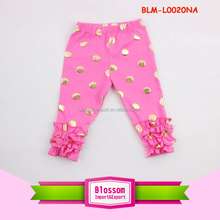 Girls icing ruffle pants hot pink print polka dot fluffy capris pattern triple ruffle infant tight icing legging kids pants