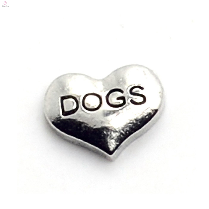 Hot sale silver heart dog letter zinc alloy memory floating charms jewelry