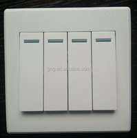 Four gang one way/two way switch, wall switch with fluorescence