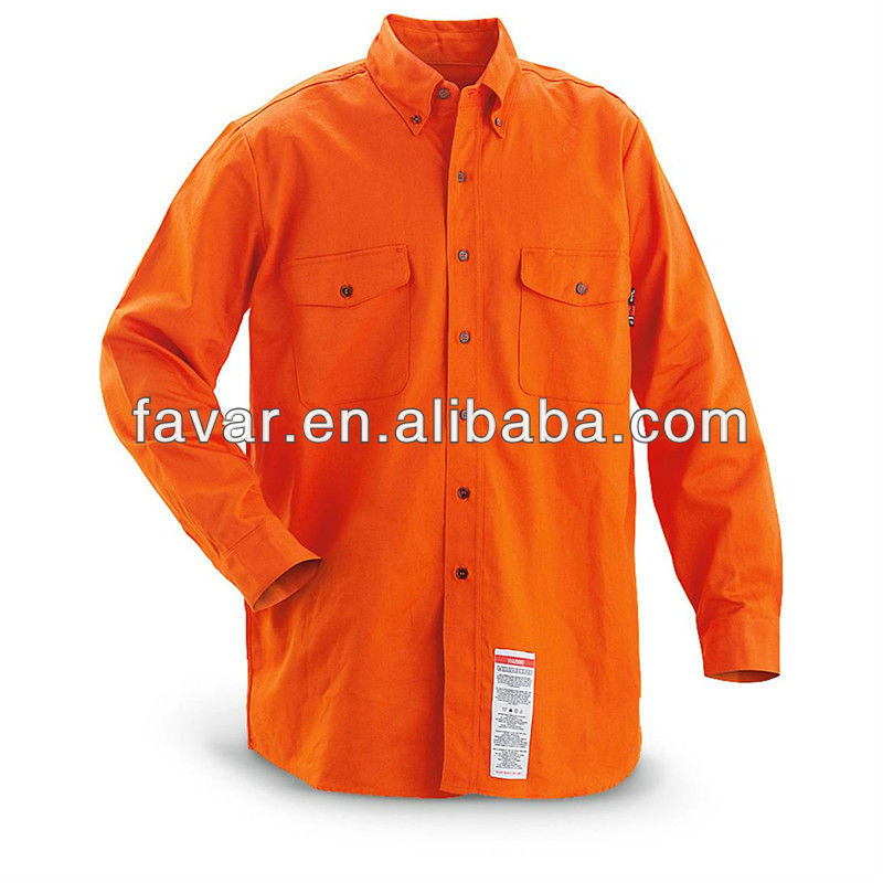Flame resistant Long sleeved button down Collar Work Shirt