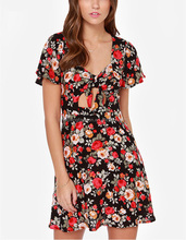 CHEFON Flowing short sleeve sexy cutout tie creates floral print malaysia wholesale fashion dress