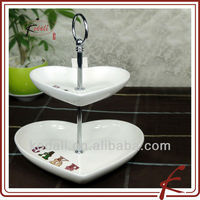 heart shaped durable porcelain cake stand dome