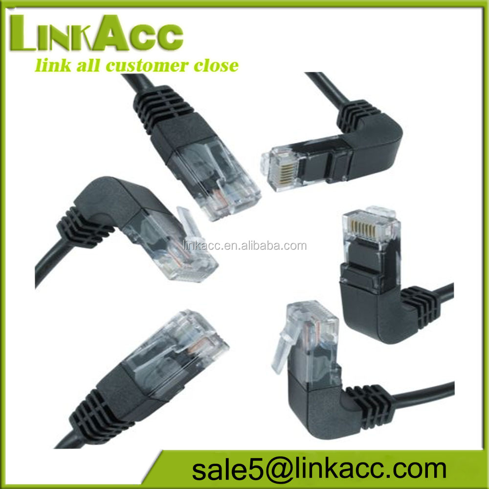 Right Angled 90 degree Head Cat5e RJ45 Ethernet Lead .5m 1m 2m network cable