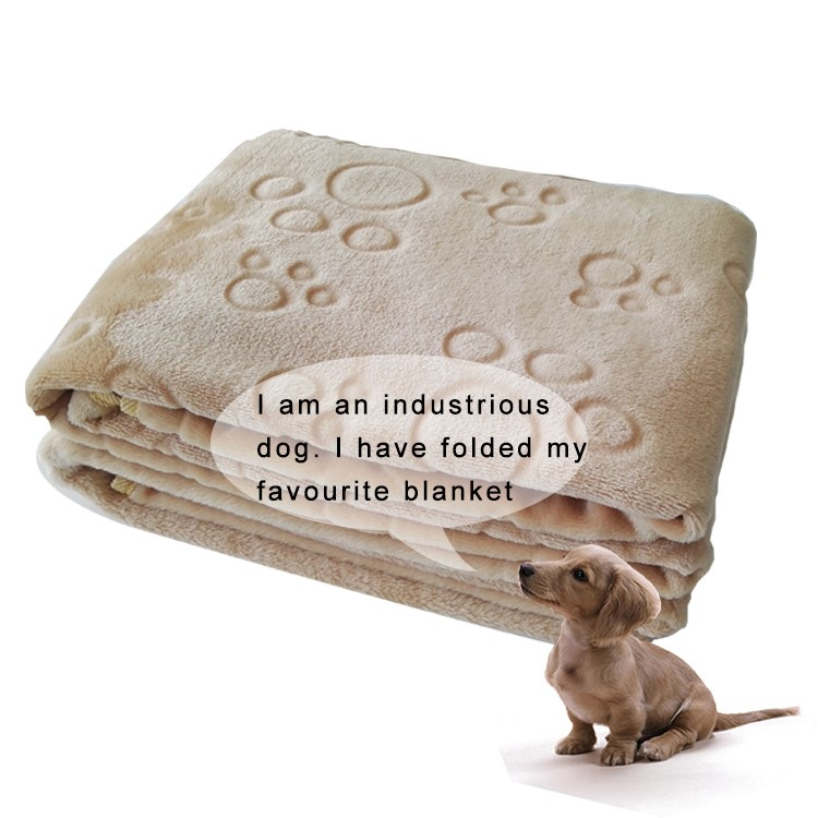 Soft plain color 100%polyester microfiber flannel dog blanket