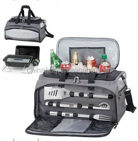 3 in 1 Cool Cooler Bag Camping Garden Set & Portable Gas Barbecue BBQ Grill