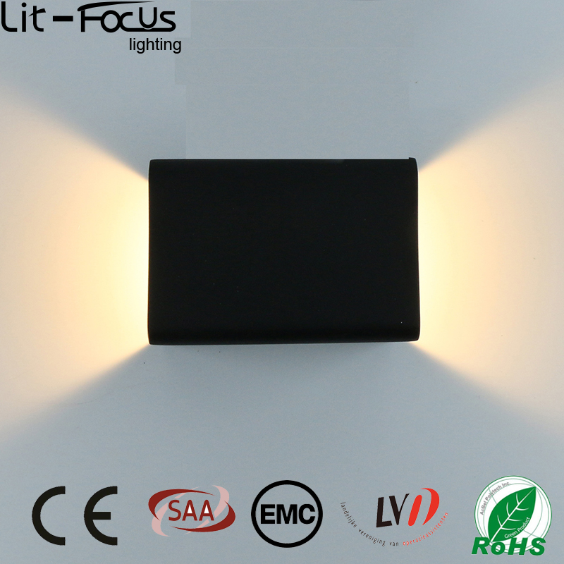 CE ROHS EMC Approved AC100-240V 5w Black Simple Rectangular Wall Lamp