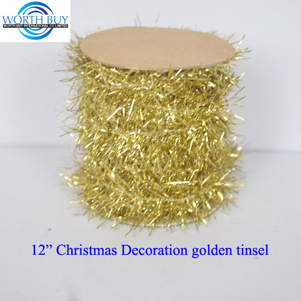 "12"" shiny golden Chrismas tinsel garland exporter from Shenzhen China"