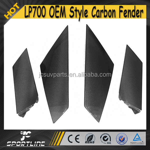 2015 4pcs/set Carbon Fiber Car Side Door Fender for Lamborghini LP700 Aventador with 8pcs Metal Bracket
