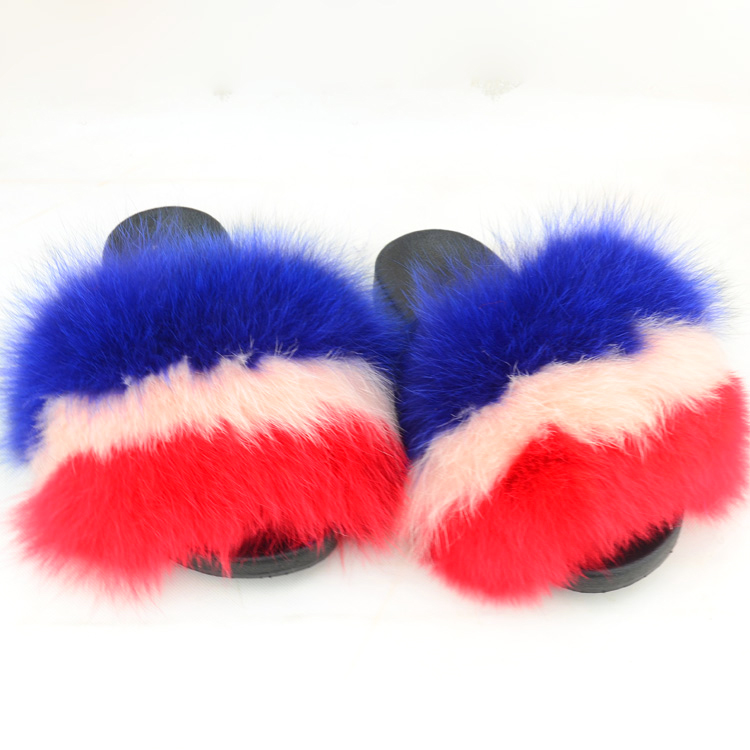 2018 new fashion womens real fox Pink sky blue fur winter slippers <strong>slides</strong>