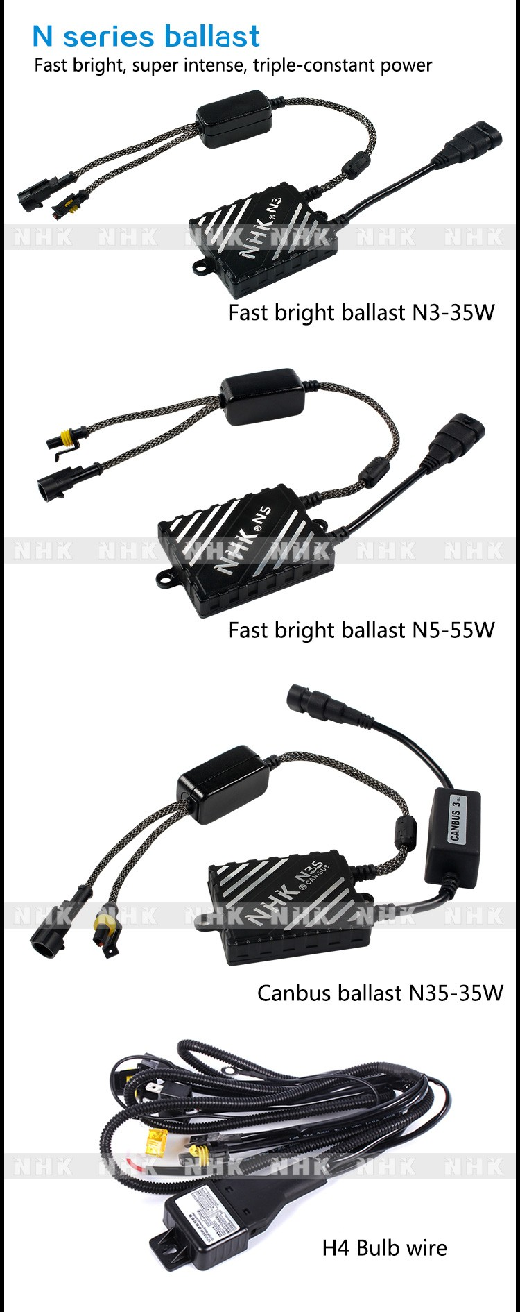 NHK blue version HID bi-xenon N kit N3 N5 N35 ballast and H1/3/4/7/8/9/11 9005/9006/9012/D2H hid xenon bulb