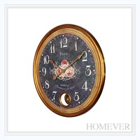 old fashion living room flower pattern wooden wall clock