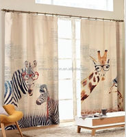 Cartoon printed blackout curtain for children