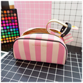 pink PU leather cosmetic bag makeup young girl toiletry bag