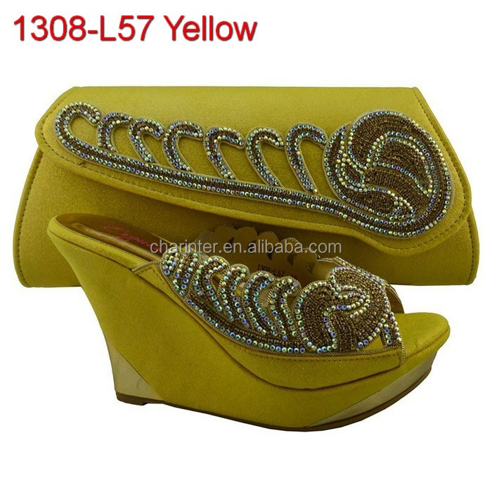 italian leather ladies shoes 1308-L57 yellow