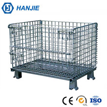 OEM collapsible stacking metal storage steel wire basket cage wholesale