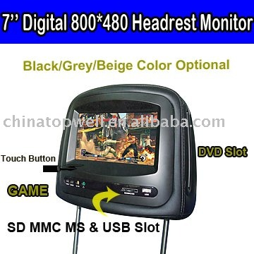 Car Pillow DVD Monitor with 7'' Digital Panel