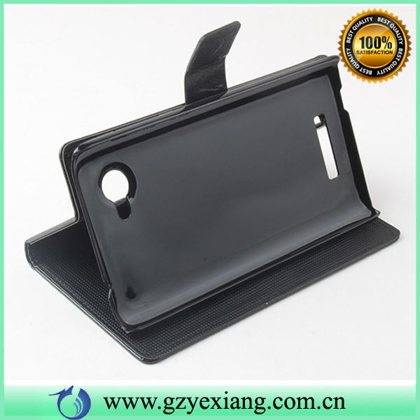 12 colors available in leather PU case for Lenovo a880 with stand and card solt
