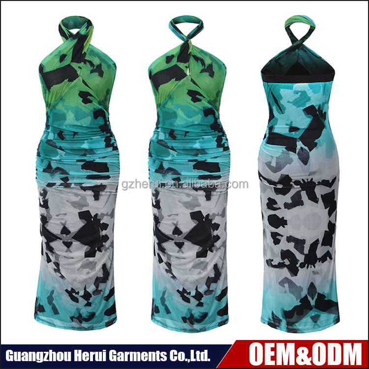 New Fashion Bodycon Sexy Ladies Dresses Terbaik Jual Pas Geometric Print Wanita Gaun