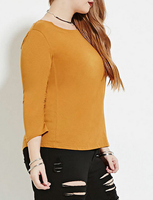 EY1357B Beautiful long sleeve backless women T-shirt /fat women T-shirt