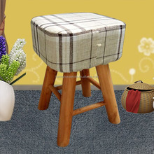 solid wood furniture fabric and sponge covered wood footstool children stool