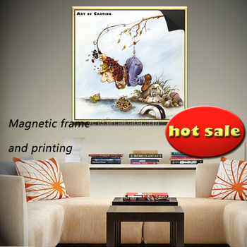 Customized of updating art ad decor Magnetic Photo Frame with print magnetic painting crazy fisherman 1013-142