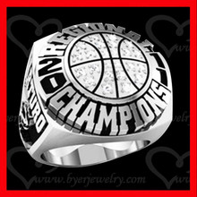 silver basketball champions ring custom jewelry