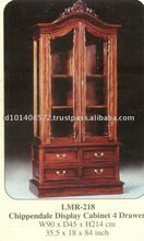 Chippendale Display Cabinet 4 Drawer Mahogany Indoor Furniture