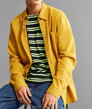 OEM Mens flannel shirt plain solid color shirt long sleeves wholesale cotton yellow flannel shirts