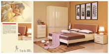 2014 exotic bedroom furniture set is made by E1 MDF board with High gloss spray printing