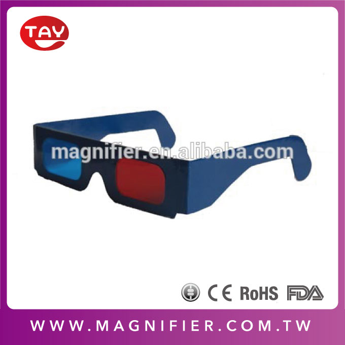 OEM kids red blue plain white frame cyan paper 3d red and blue cardboard glasses for dimensional anaglyph
