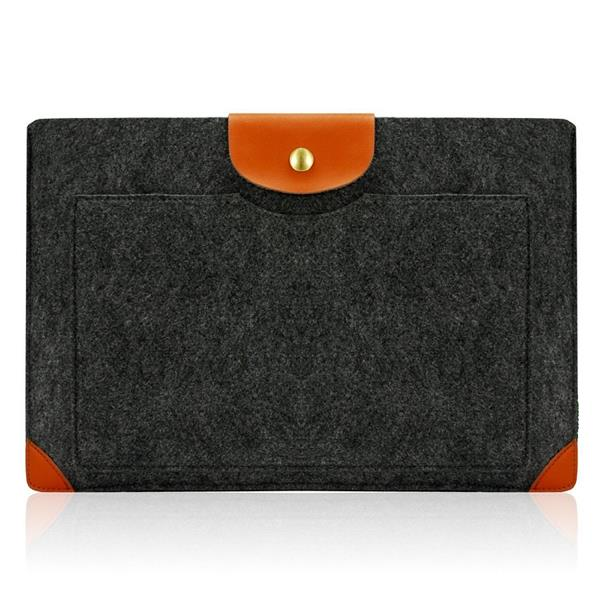 Handmade Gray Leather Corner Felt Laptop Sleeve with Leather Flap