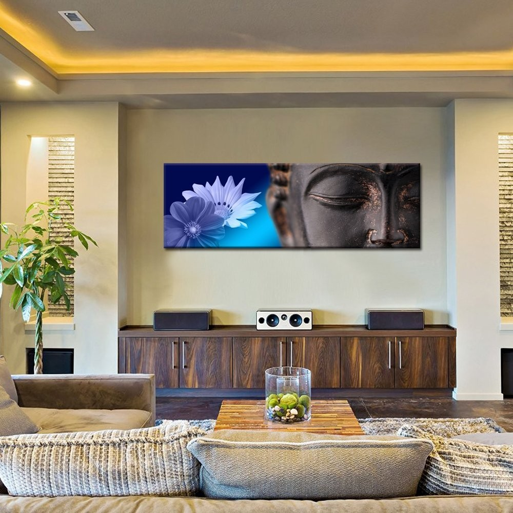 50X150cm Peaceful Buddha Canvas Wall Art/Large Size Merciful Buddha Canvas Print/Yoga Room Wall Decor Art
