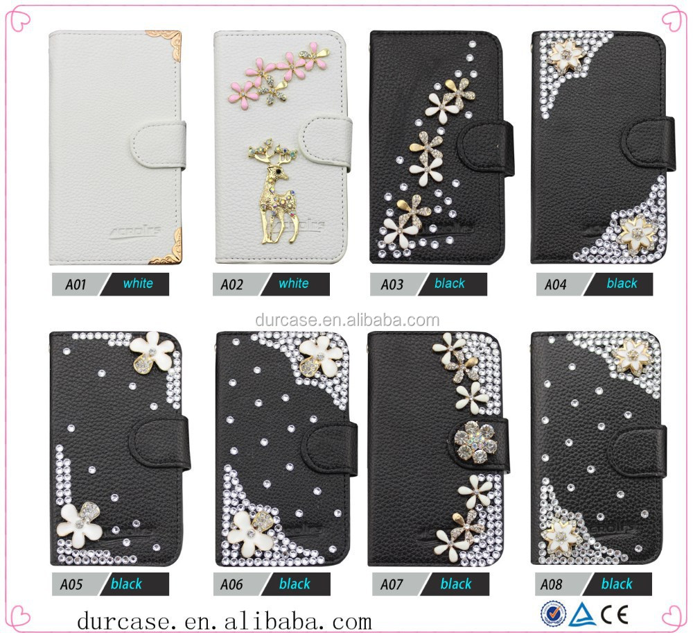 Flip wallet pu cover leather bling bling case for apple IPAD5