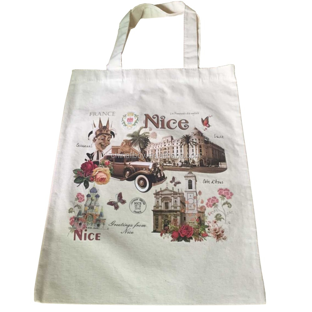 custom printed natural color cotton canvas tote bag