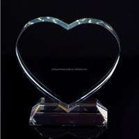 2017heart Shaped Blank Crystal Glass Award