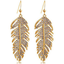 Angel Feather Leaf Crystal Earring