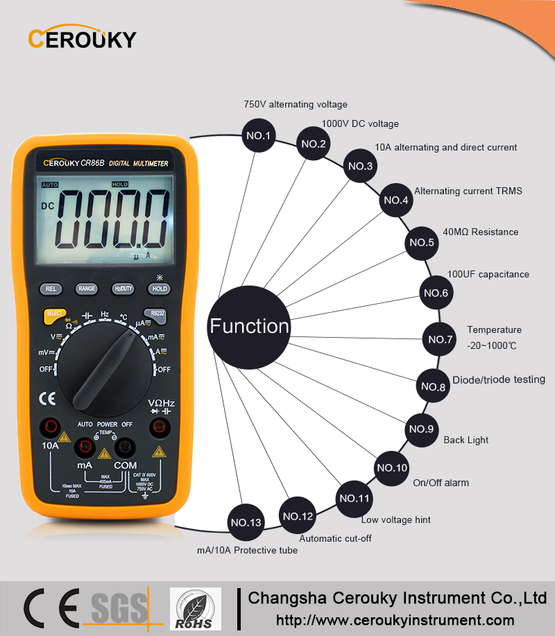 Best electronic components checking digital multimeter CR86B