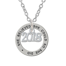Number 2018 She Could She Did Affirmation Ring Pendants Necklace Fashion