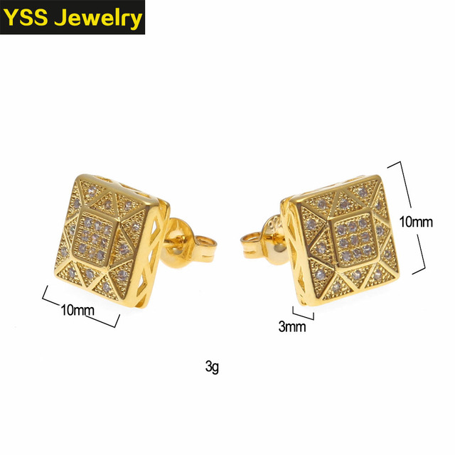 Hip-hop jewelry 925 silver Earrings Ice out gold plated earrings Whole sale High Quality Female jewelry earrings