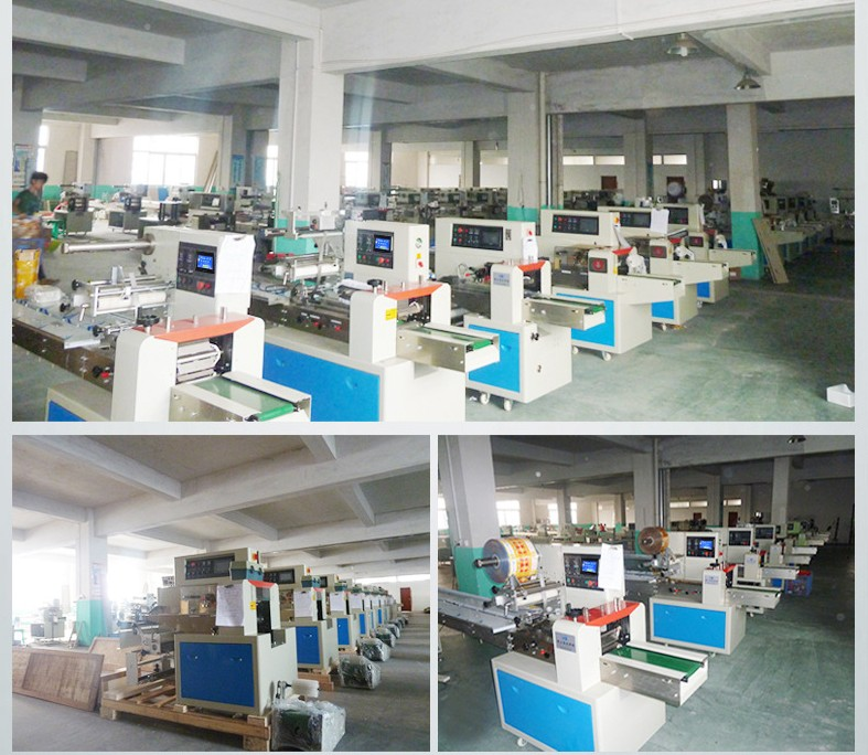 automatic pillow plastic bag sealing cutting machine bread waffle moon cake cookie mik chocolate bar packing machine